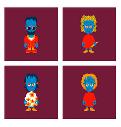 Assembly flat zombie family vector