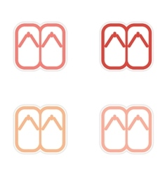 Assembly Sticker Japanese slippers vector