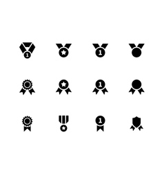 Award and medal icons on white background vector image