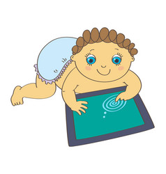 Baby playing with digital tablet vector