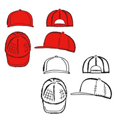 Baseball tennis rap cap outlined template vector