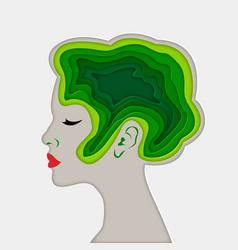 beautiful woman paper art vector image