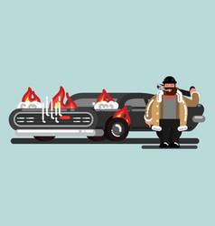 Big guy burn down the car vector