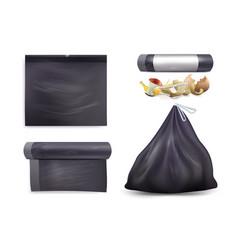 black trash bag mockup set isolated vector image