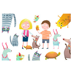 boy and girl kids with pets collage design vector image