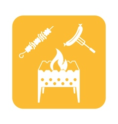 Brazier kebab and sausage icon vector