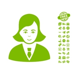 Business lady icon with free bonus vector