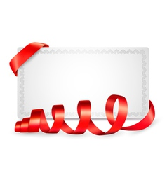 Card notes with red gift bows with ribbons vector