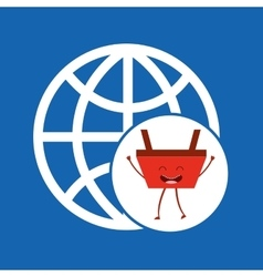 Cartoon basket shopping connection global vector