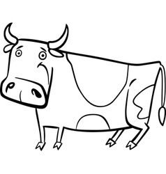 Cartoon of farm cow for coloring vector