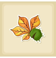 Chestnut with leaf icon Harvest Thanksgiving vector