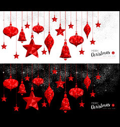 Christmas and new year red ornament bauble banners vector