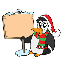 christmas penguin with sign vector image