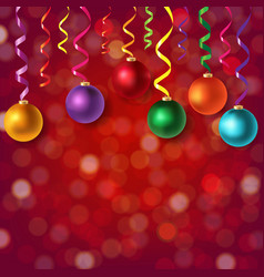christmas postcard with bokeh and xmas balls vector image