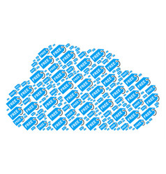 Cloud composition of free tag icons vector