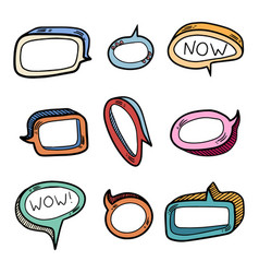 Color set nine volume speech bubbles insert vector