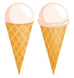 Colorful vanilla ice cream cone set vector