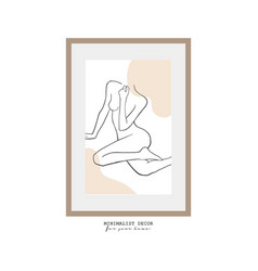 Continuous line drawing a woman body with hand vector