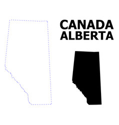 Contour dotted map alberta province with vector