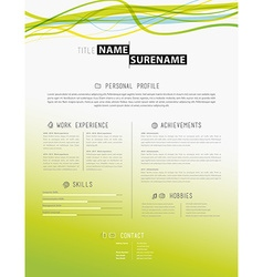Creative simple cv template with colorful lines in vector