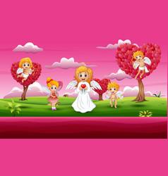 cupid family cartoons in a pink garden vector image