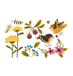 cute bird and flower collection vector image