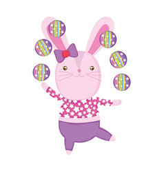Cute circus rabbit juggling balls vector