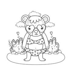 Cute little bear with heart sunglasses in the camp vector