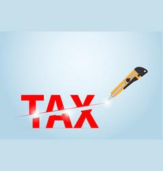 Cutter knife cutting tax word taxation concept vector