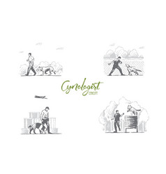 cynologist - special people training dogs vector image