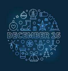 December 25 round outline blue vector
