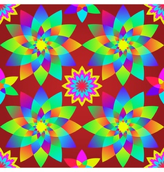 Decorative motley pattern with geometric flowers s vector