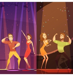 Disco Evening Dancing Pairs Cartoon Poster vector image