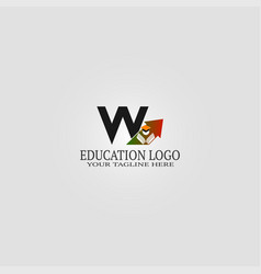 Education logo template with w letter logo vector
