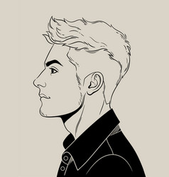 Fashionable mens haircut punk or hipster vector