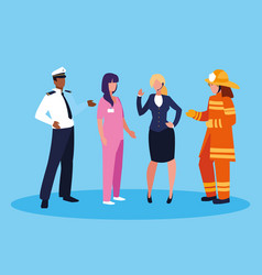 Firefighter with group professionals vector