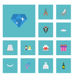 flat icons building jewelry brilliant and other vector image