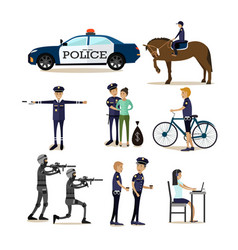 flat icons set policeman profession vector image
