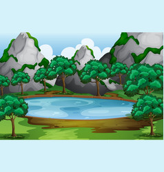 Forest scene with trees around pond vector