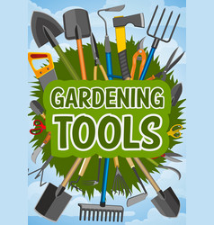 Gardening tools and farming instruments vector