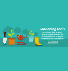 gardening tools banner horizontal concept vector image