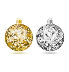 Gold and silver Openwork Christmas balls vector image