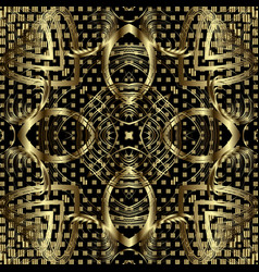 Gold half tone floral 3d seamless pattern vector