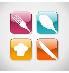 Gourmet glossy icons set background vector image