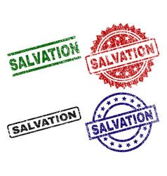 Grunge textured salvation stamp seals vector