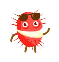 Happy smiling rambutan with sunglasses colorful vector