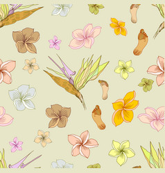 Hawaiian floral pattern vector
