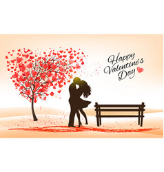 Holiday valentines day background tree vector