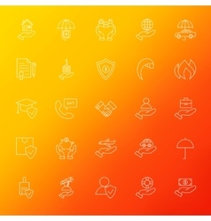 Insurance Services Line Icons Set Blur vector image