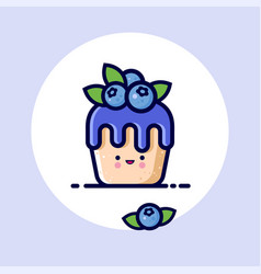 Kawaii muffin blueberries syrup face vector